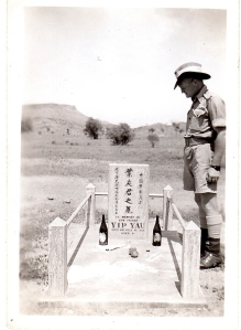 Chinese grave near Alice Springs, taken c 1943. Standing is Sgt Harold Sweet, father of David Sweet