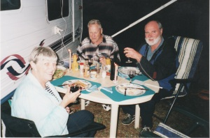 Judith & Bob Stephenson and me enjoying a sea food BBQ – Exmouth WA 2002