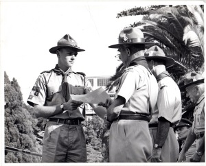 Presentation of Queen's Scout Award to David Sweet, Government House, Adelaide by the then Governor, Sir Edric Bastyan. (April 1965)