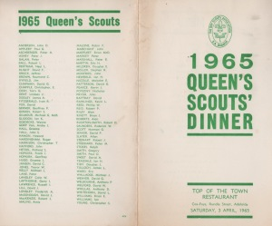 The 1965 Queen's Scout presentation dinner menu