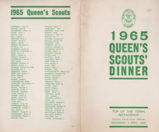 The 1965 Queen's Scout presentation dinner menu