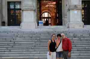 Entrance to the historic University of Vienna, with Vienna university colleagues Lisa, Christine and David.