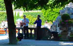 Mirabella Gardens with classical buskers.