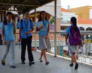 Smart uniforms worn by the students distinguish their areas of study.